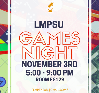 Come out to GAMES NIGHT on Nov 3rd!